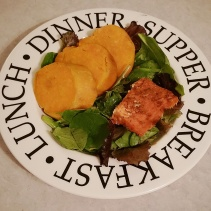 Baked Salmon over Spring Mix with Baked Potato
